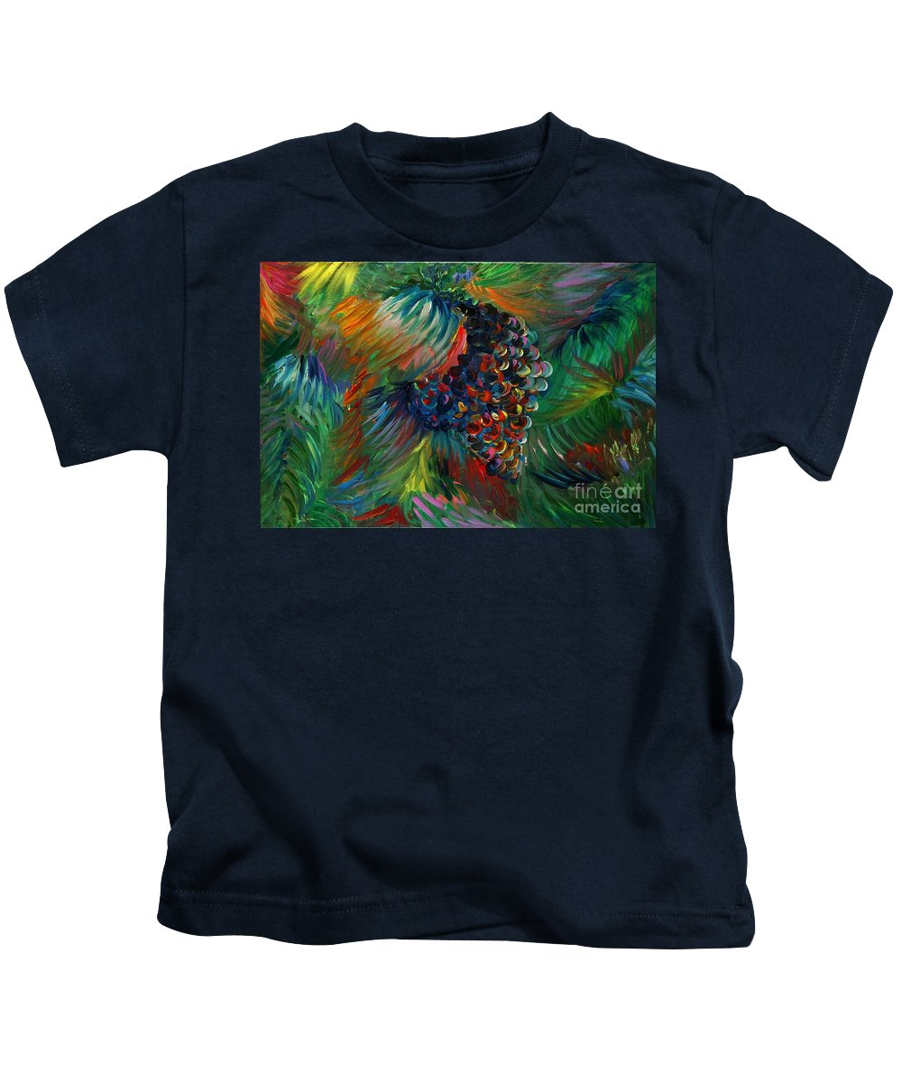 Grapes Kids T-Shirt featuring the painting Vibrant Grapes by Nadine Rippelmeyer