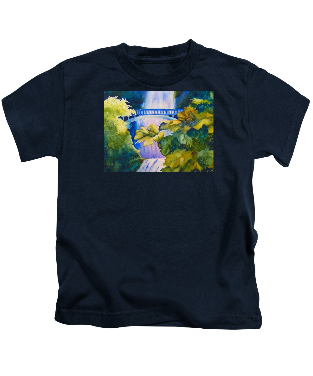 Waterfall Kids T-Shirt featuring the painting View Of The Bridge by Karen Stark