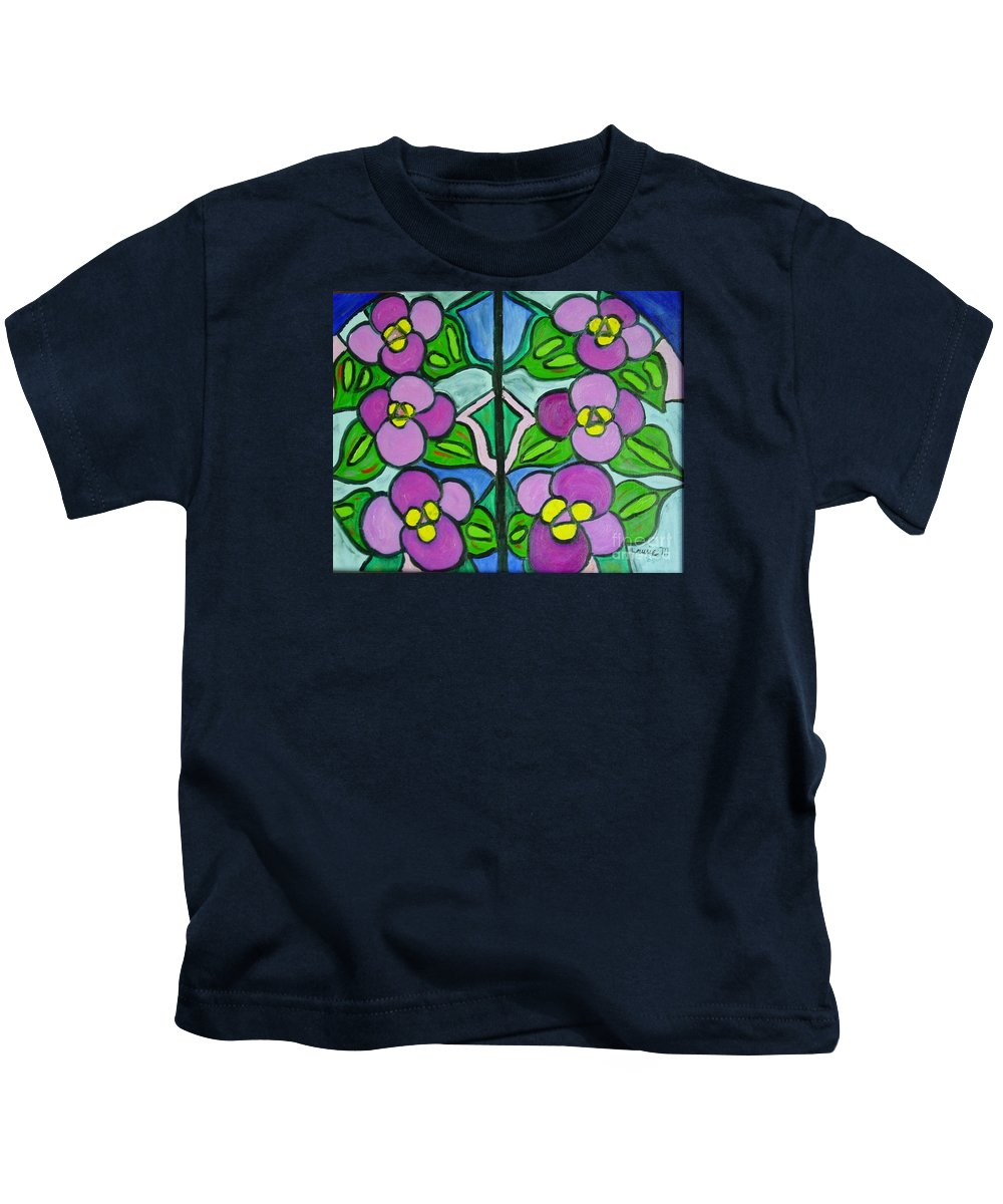 Violets Kids T-Shirt featuring the painting Vintage Violets by Laurie Morgan