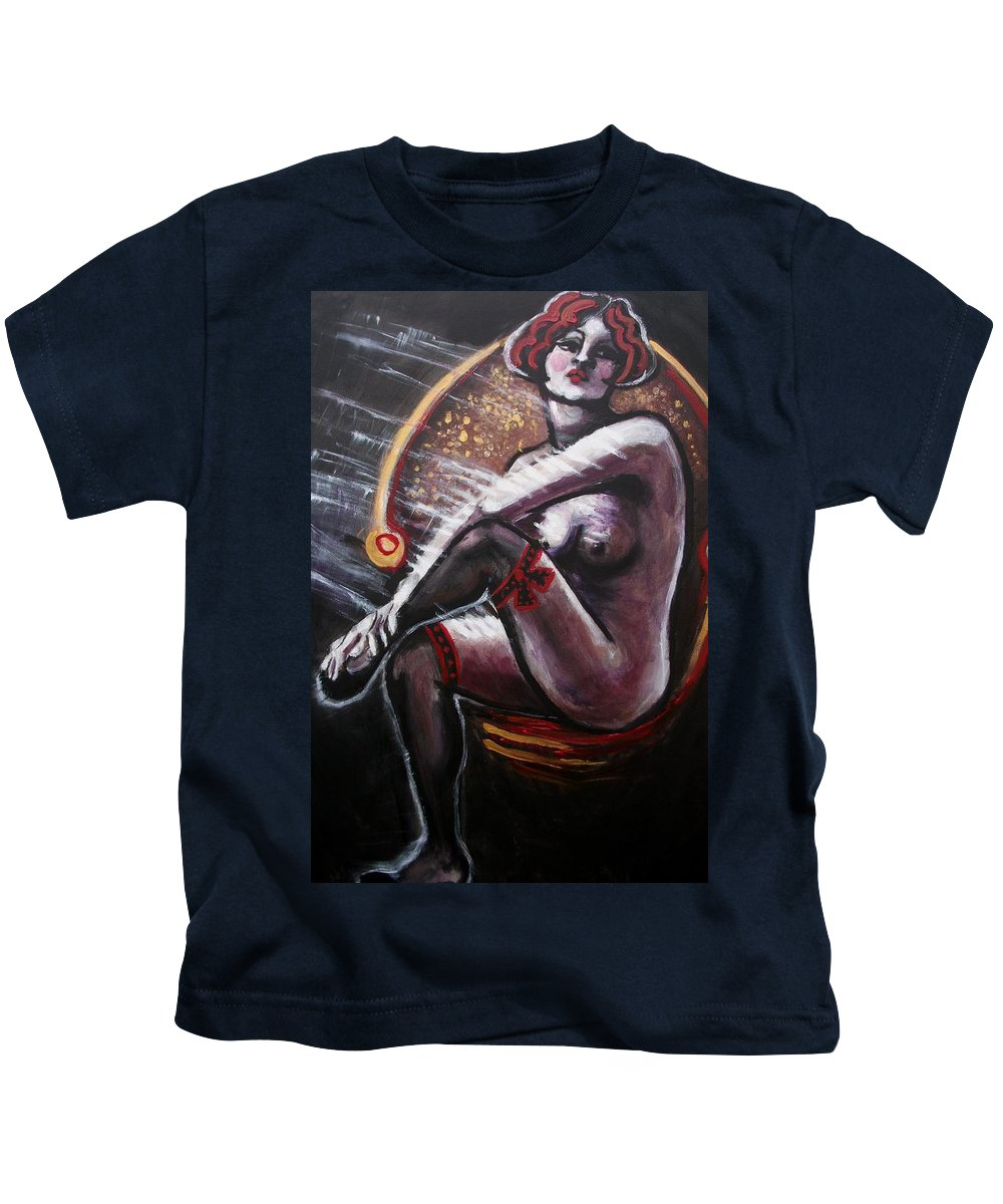 Original Kids T-Shirt featuring the painting Vintage Years-black Stockings by Carmen Tyrrell