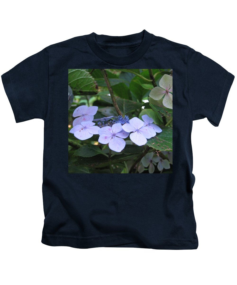 Violets Kids T-Shirt featuring the photograph Violets O The Green by Kelly Mezzapelle