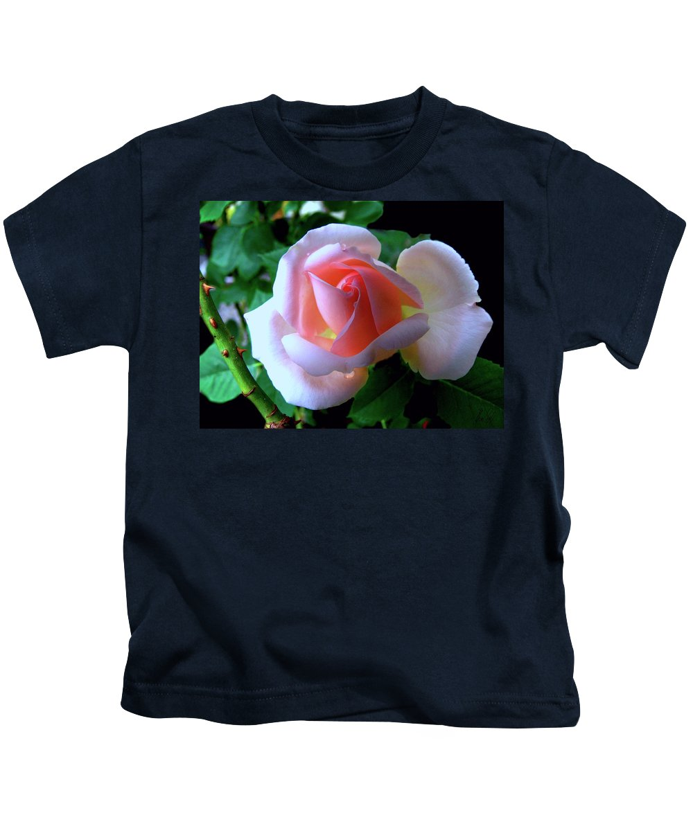 Vigin Rose Kids T-Shirt featuring the photograph Virgin pink rose with thorns by Helmut Rottler