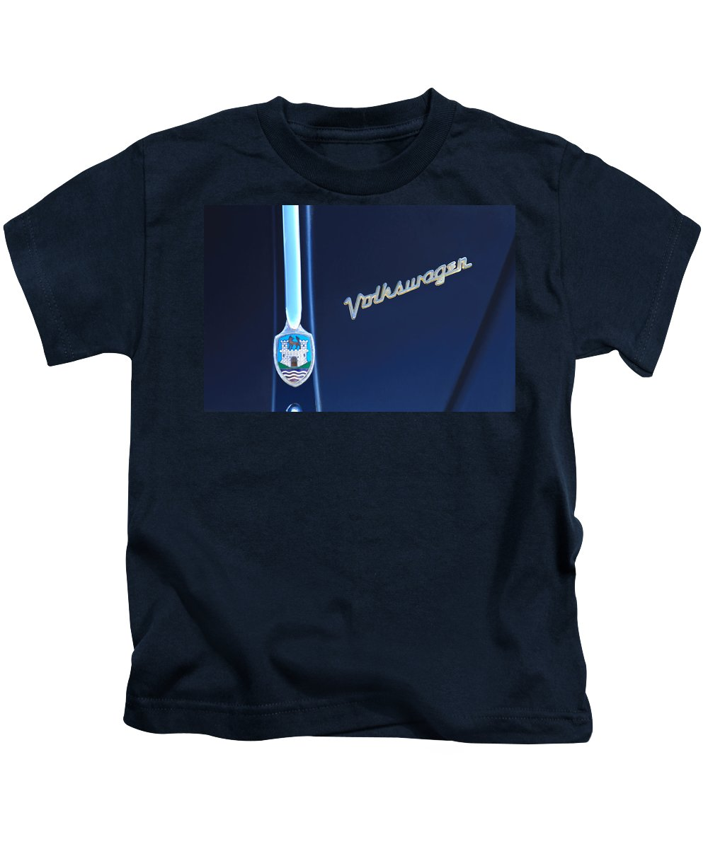 Volkswagen Vw Bug Kids T-Shirt featuring the photograph Volkswagen Vw Bug Hood Emblem by Jill Reger