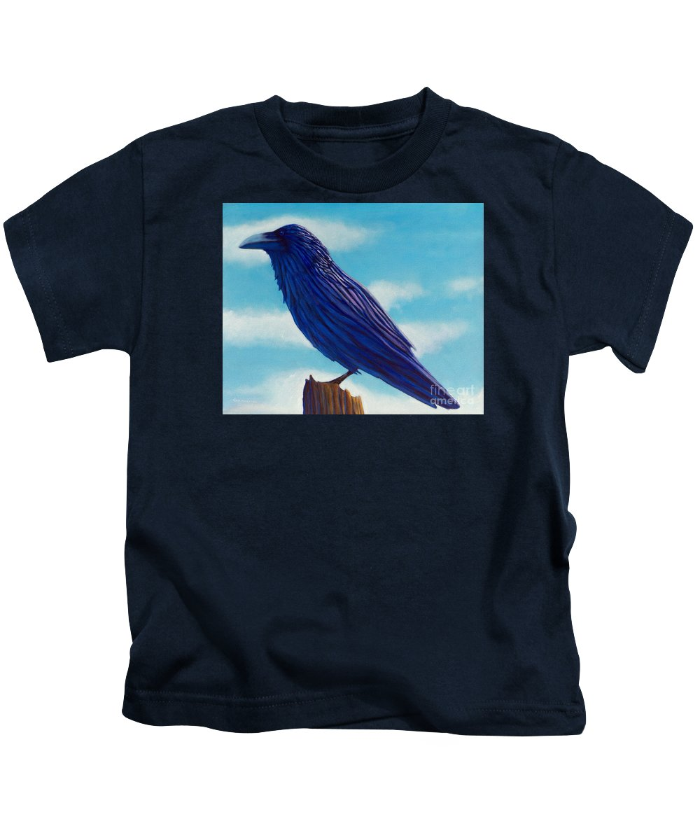Raven Kids T-Shirt featuring the painting Waiting by Brian Commerford