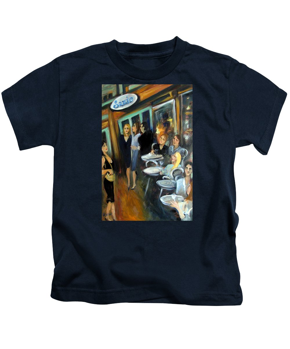 Sidewalk Cafe Kids T-Shirt featuring the painting Waiting For A Table by Valerie Vescovi