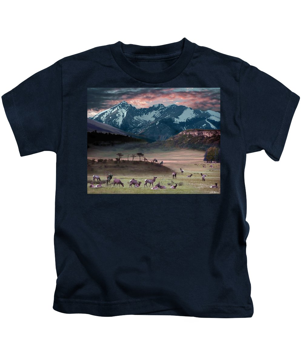 Wildlife Kids T-Shirt featuring the digital art Wapiti Heaven by Bill Stephens