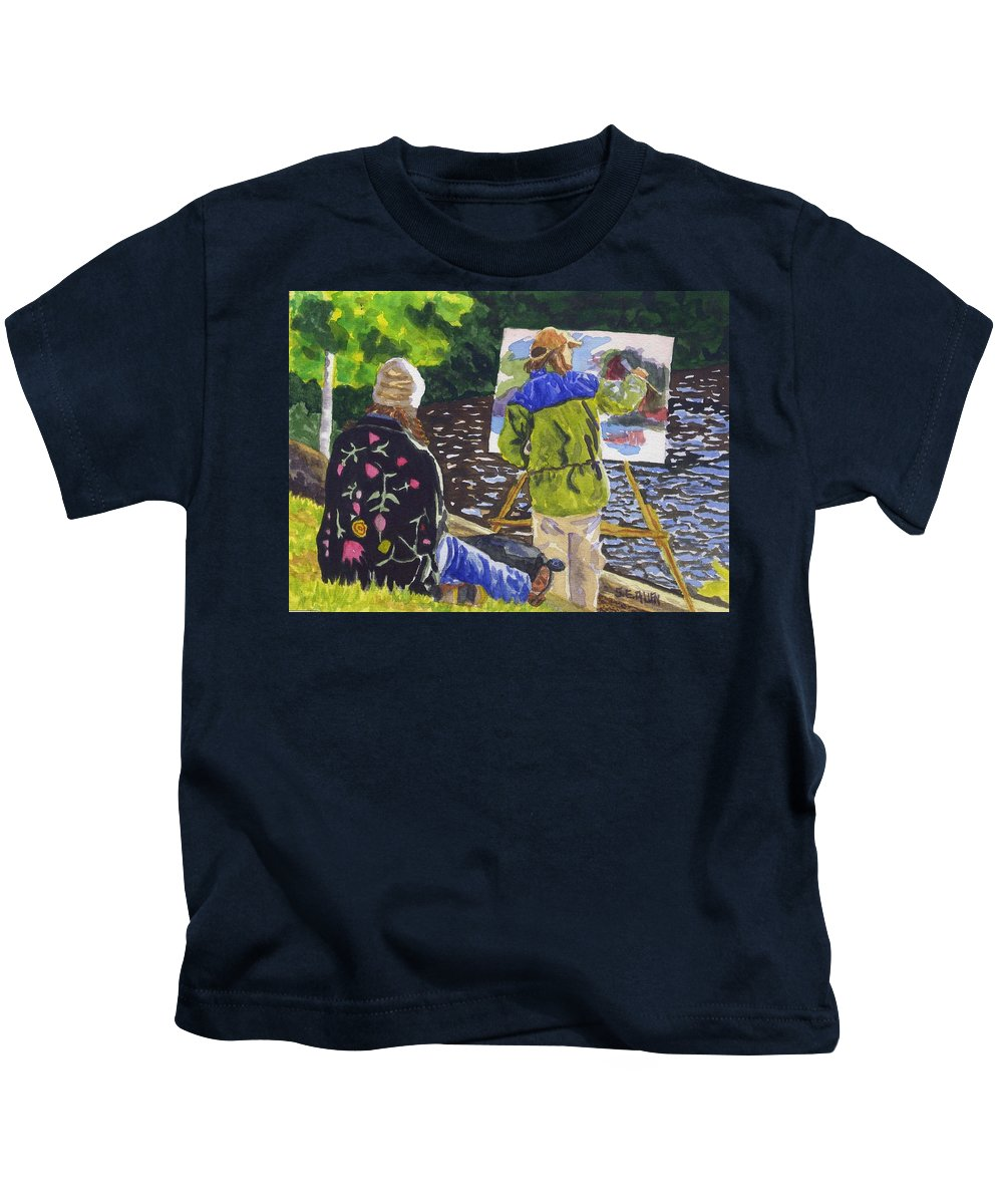 Artist Kids T-Shirt featuring the painting Watching The Maestro by Sharon E Allen