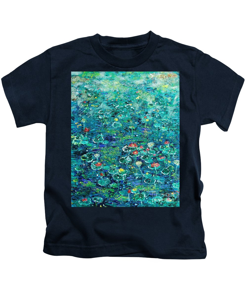 Water Lily Paintings Kids T-Shirt featuring the painting Water Lilies Lily Pad Lotus Water Lily Paintings by Seon-Jeong Kim