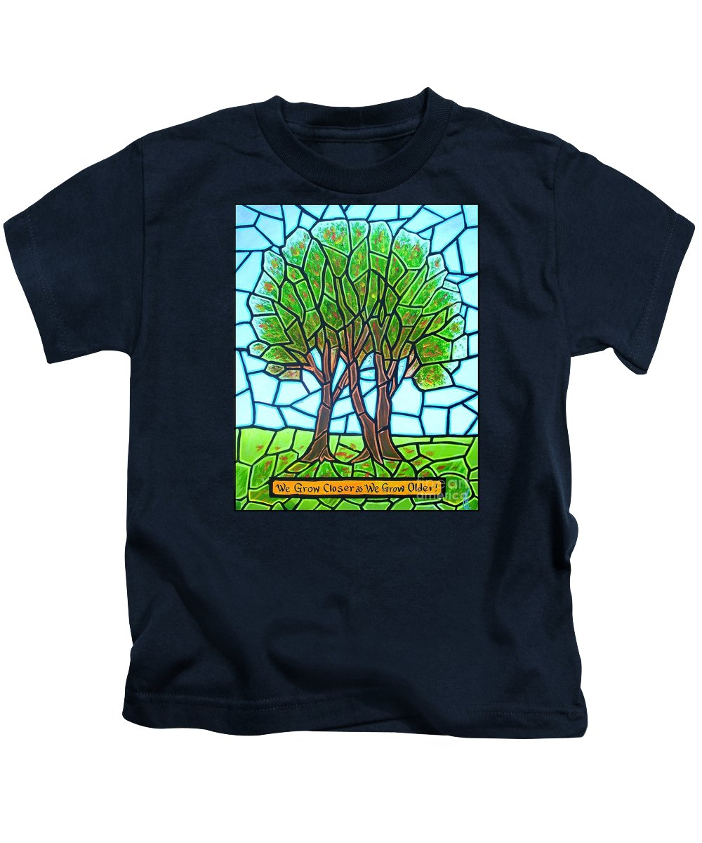 Aging Kids T-Shirt featuring the painting We Grow Closer as We Grow Older by Jim Harris