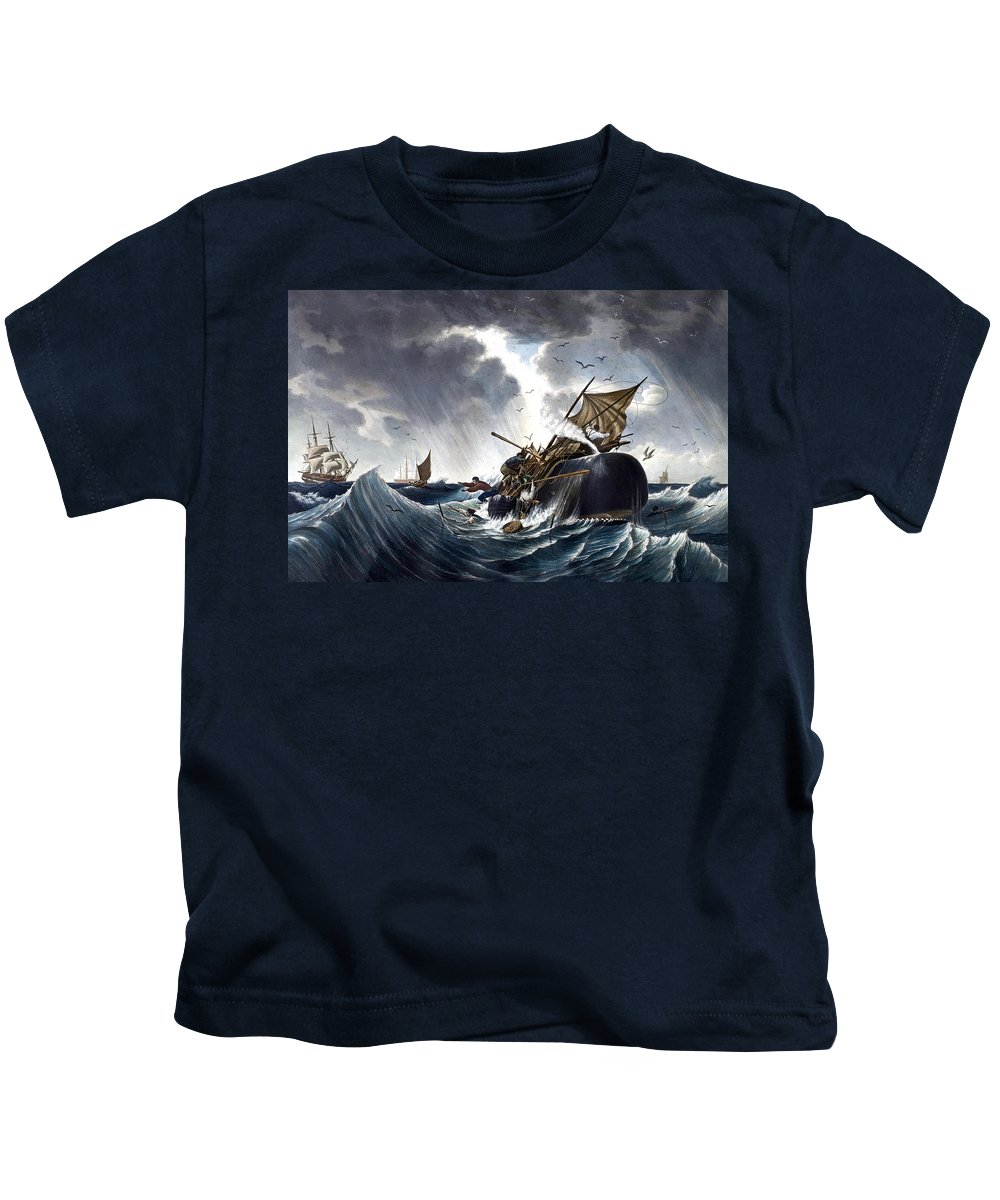Whale Kids T-Shirt featuring the painting Whale Destroying Whaling Ship by American School