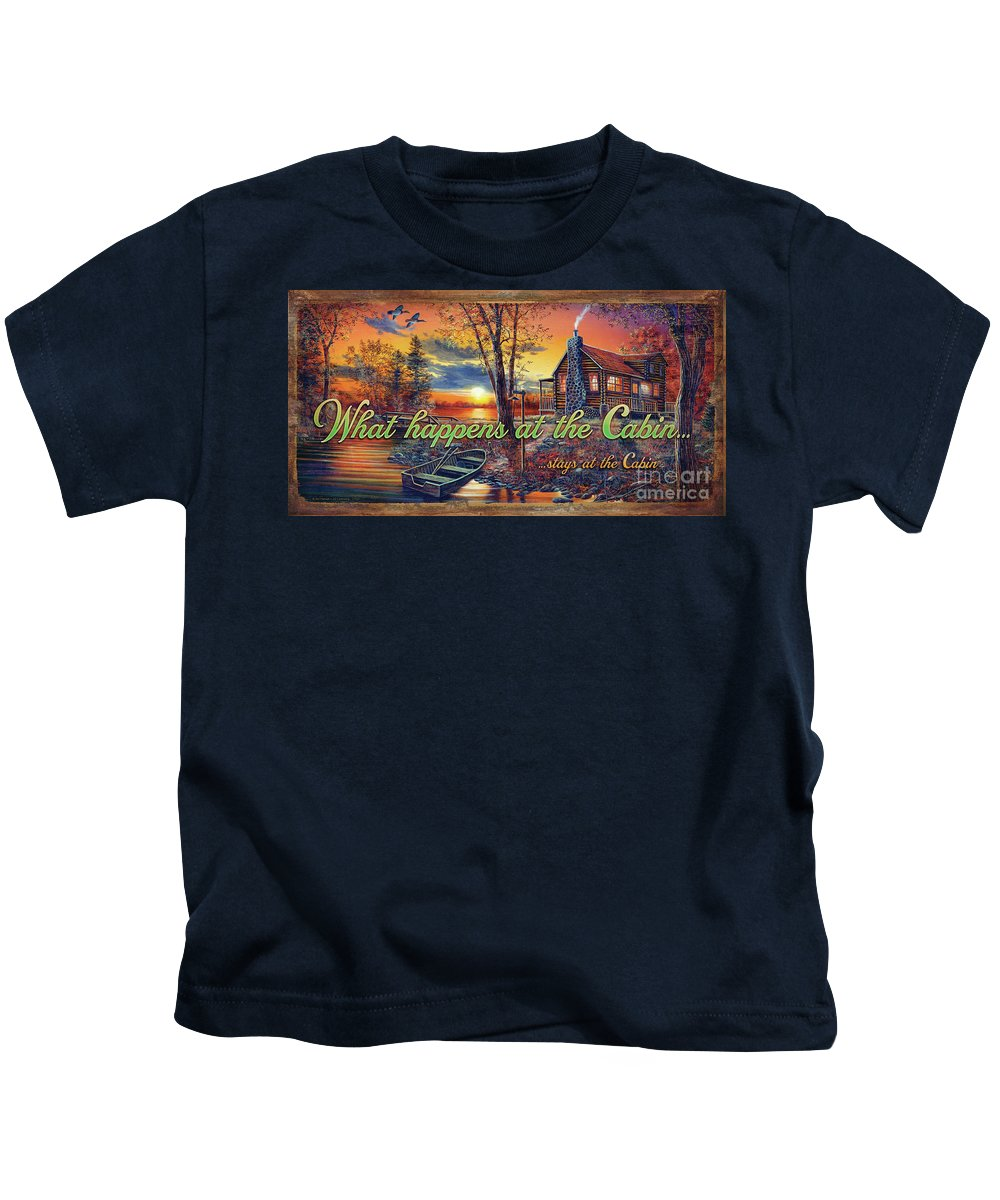 Jq Licensing Kids T-Shirt featuring the painting What Happens At The Cabin by Jim Hansel
