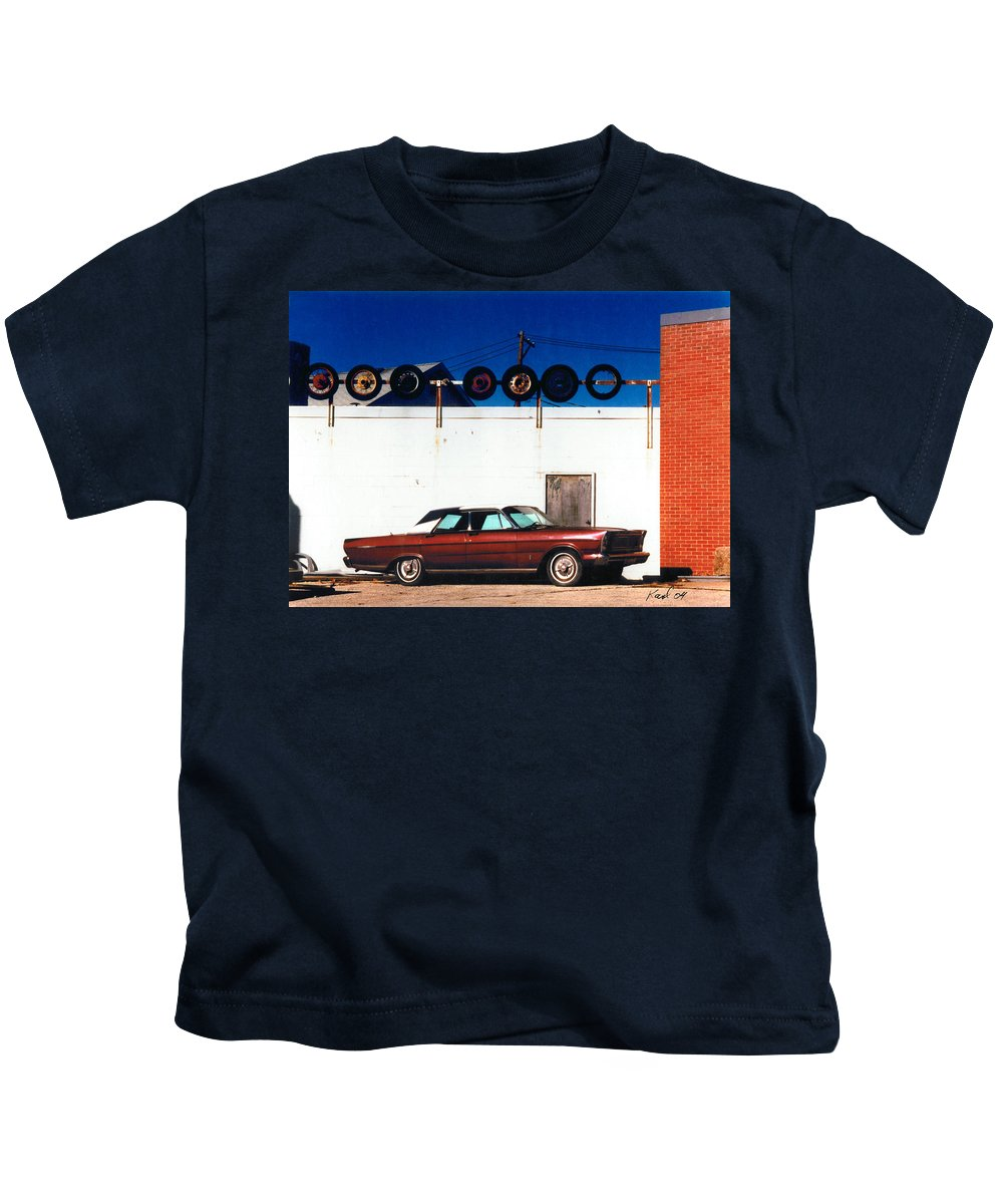 Cars Kids T-Shirt featuring the photograph Wheels by Steve Karol