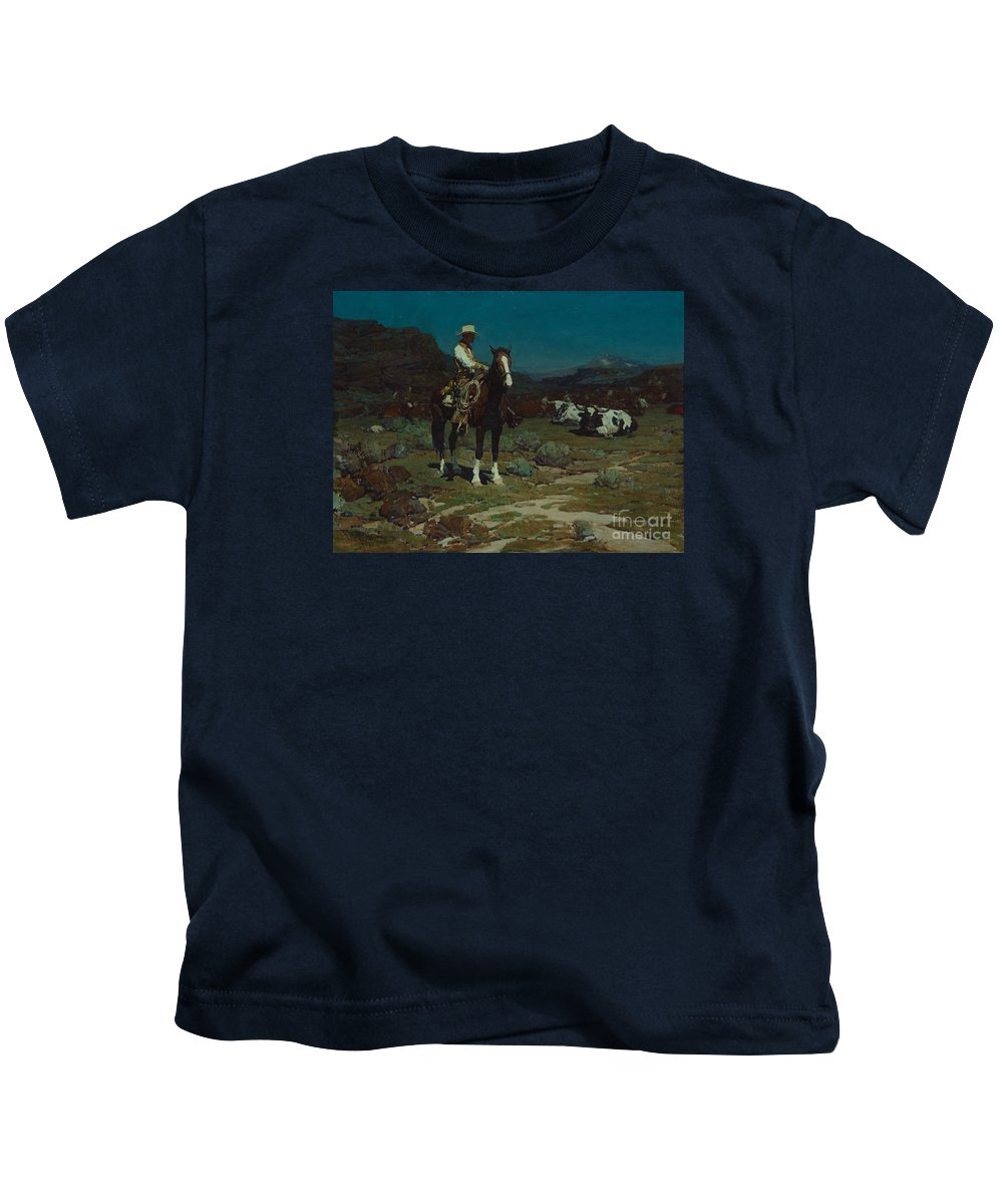 Frank Tenney Johnson (1874-1939) While Trail-weary Cattle Are Sleeping (1936) Kids T-Shirt featuring the painting While Trail-weary Cattle Are Sleeping by Celestial Images