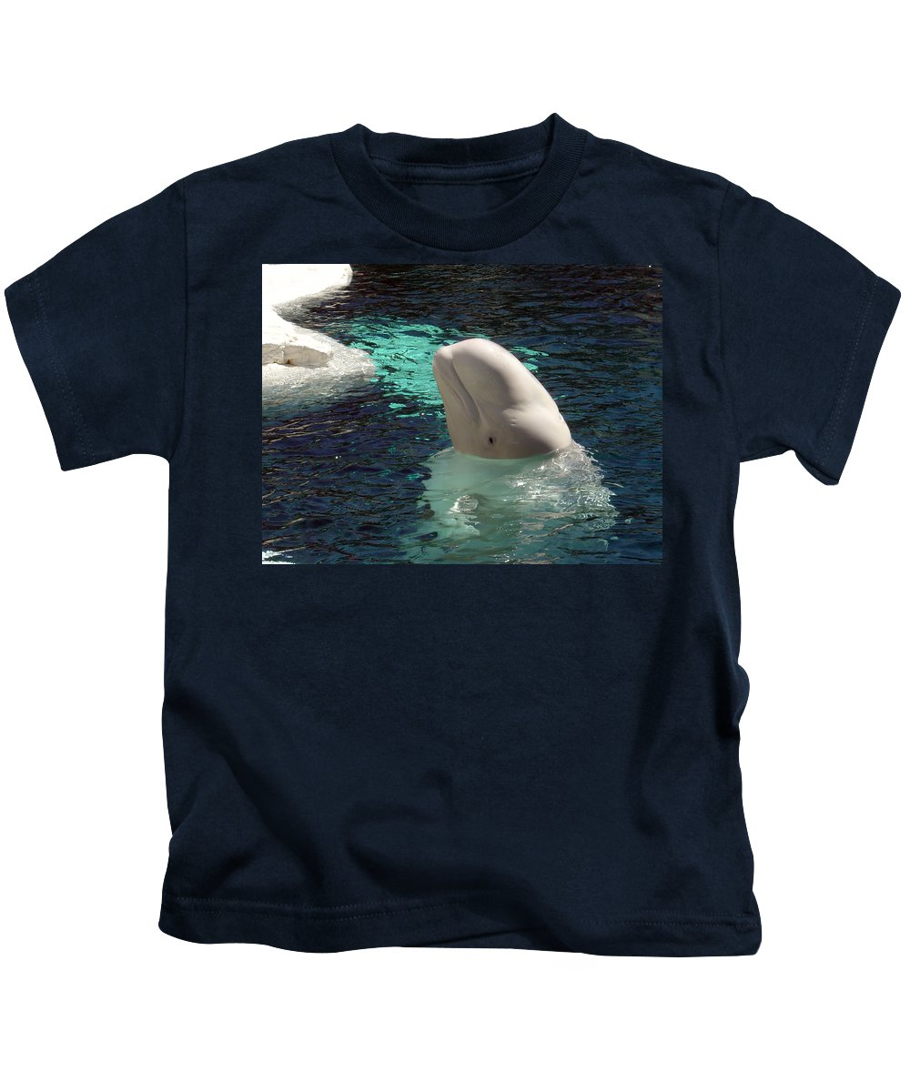 Whale Kids T-Shirt featuring the photograph White Beluga Whale 1 by Angelina Vick