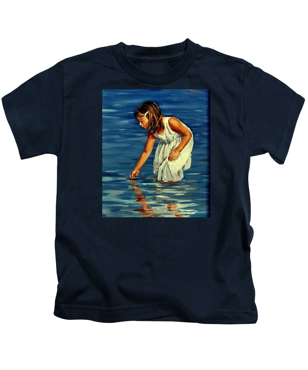 Girl Kids T-Shirt featuring the painting White Dress by Natalia Tejera