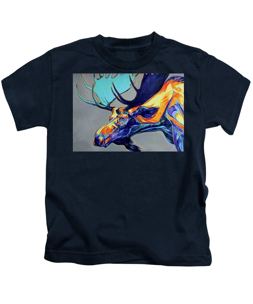 Moose Kids T-Shirt featuring the painting Who Has Seen The Wind by Derrick Higgins