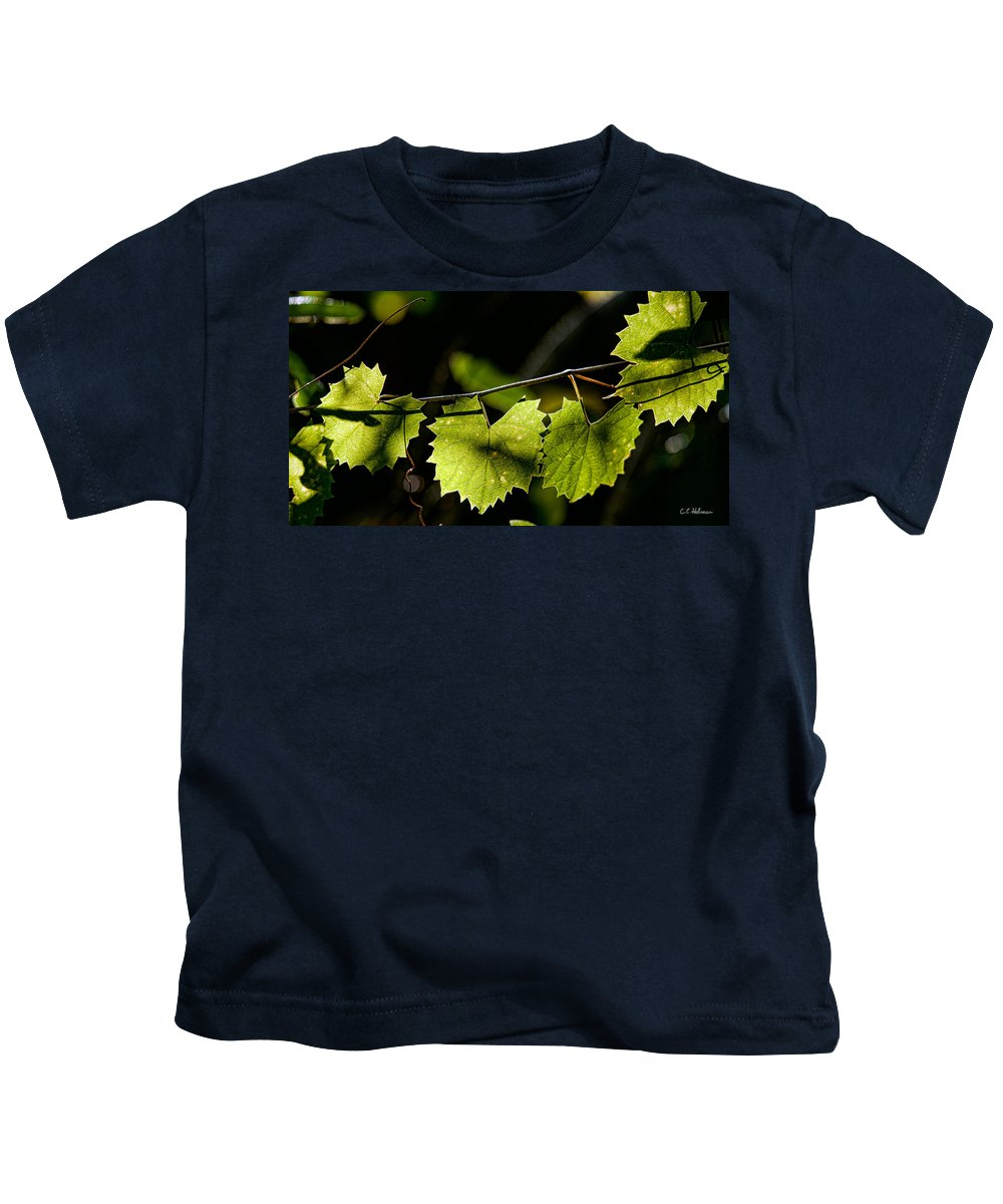 Grape Kids T-Shirt featuring the photograph Wild Grape Leaves by Christopher Holmes