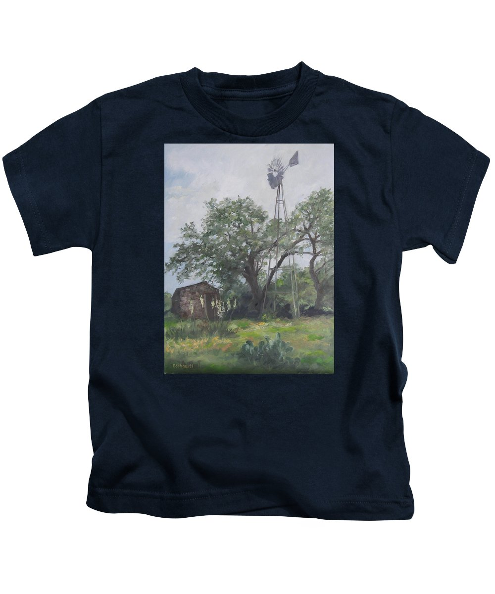 Texas Kids T-Shirt featuring the painting Windmill At Genhaven by Connie Schaertl