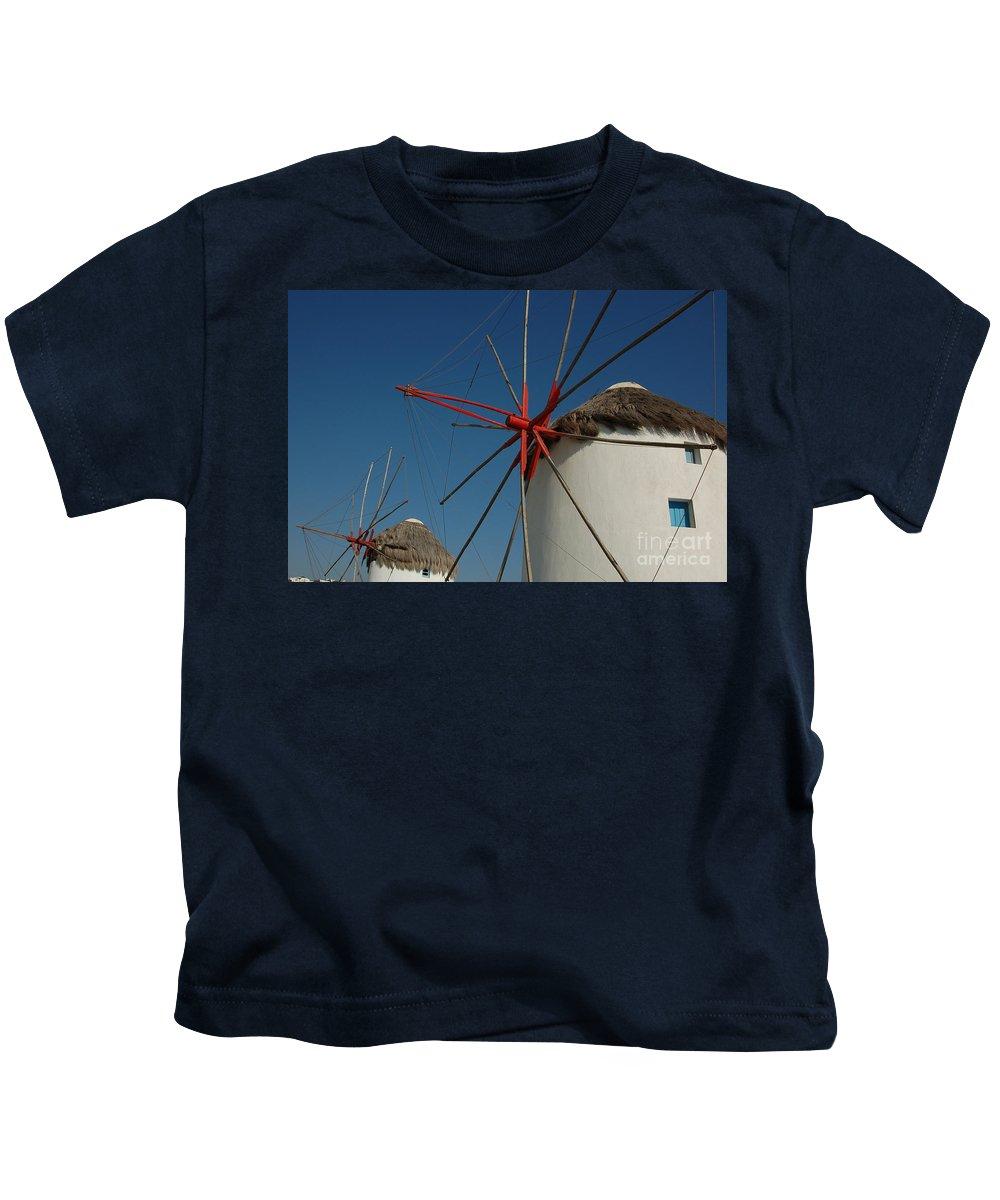 Mykonos Kids T-Shirt featuring the photograph Windmills by Joe Ng