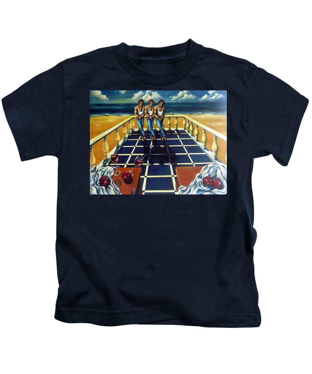 Surreal Kids T-Shirt featuring the painting Wine And Pomegranites by Valerie Vescovi