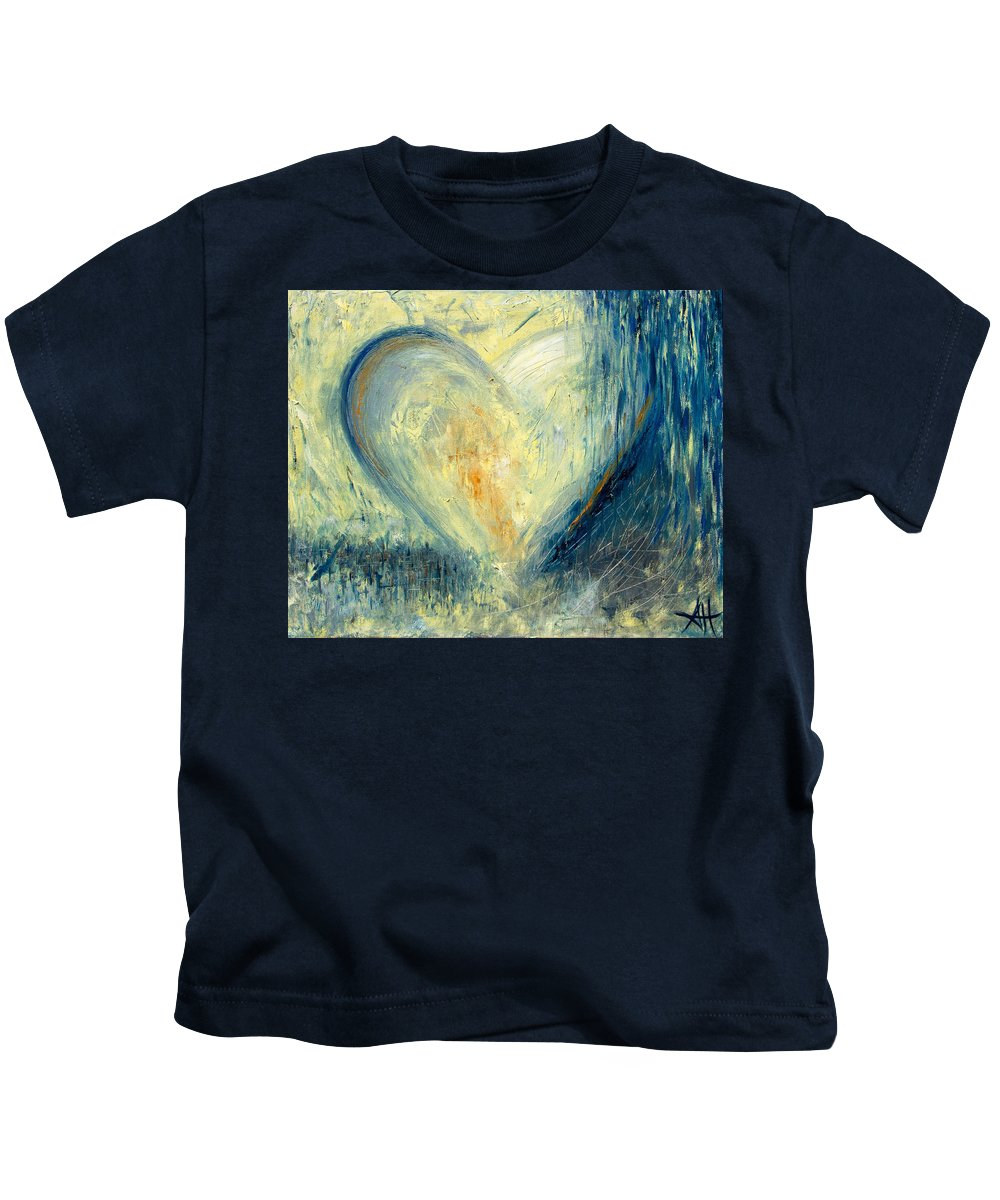 Hearts Kids T-Shirt featuring the painting Winter Heart by Shawna Hatton