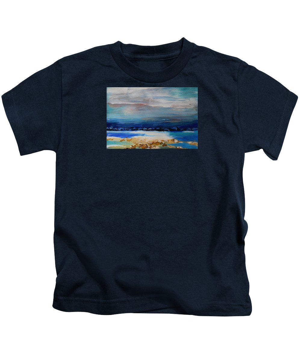 Winter Kids T-Shirt featuring the painting Winter Scenery by HelenaP Art