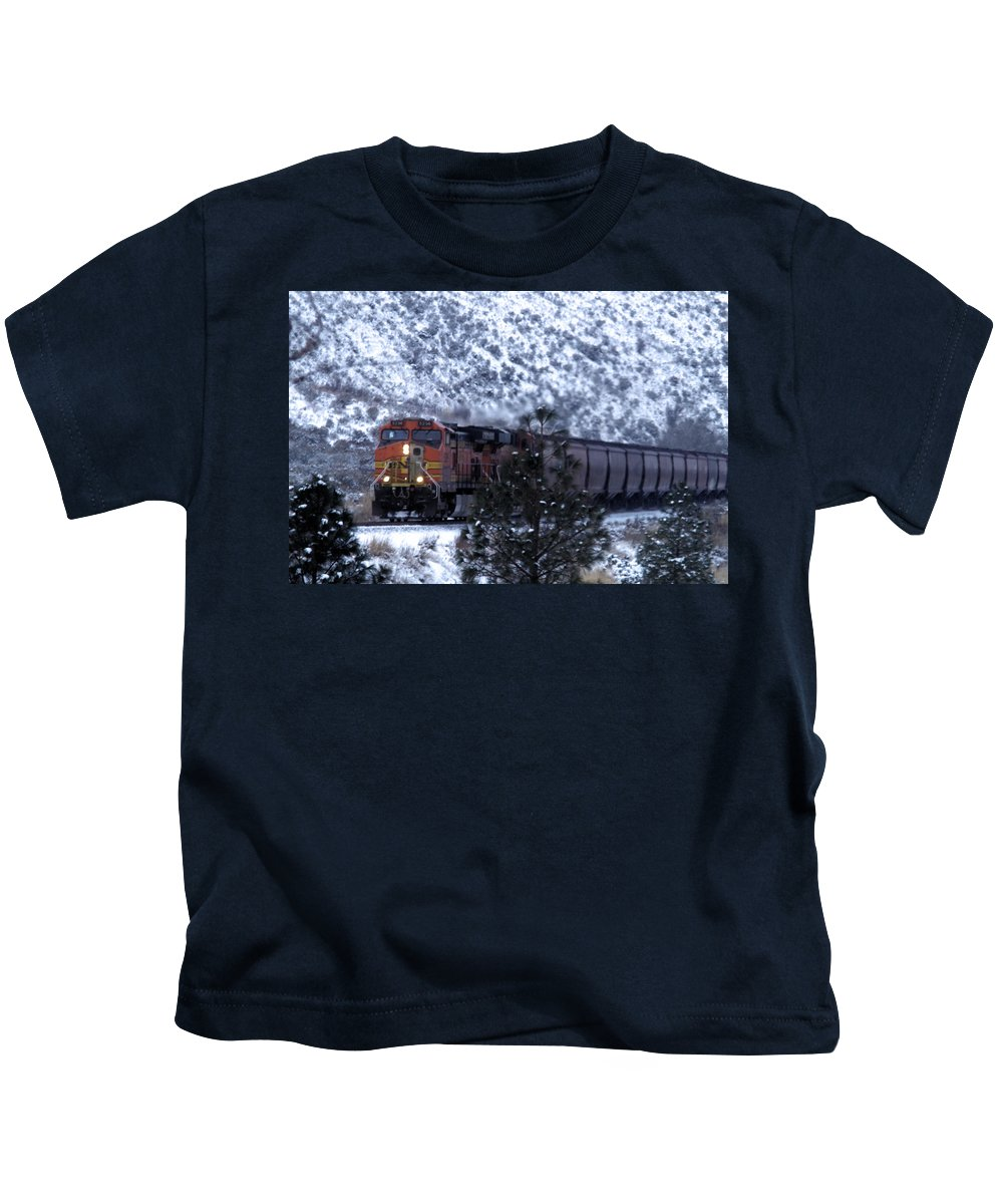 Train Kids T-Shirt featuring the photograph Winter Train by Jeff Swan
