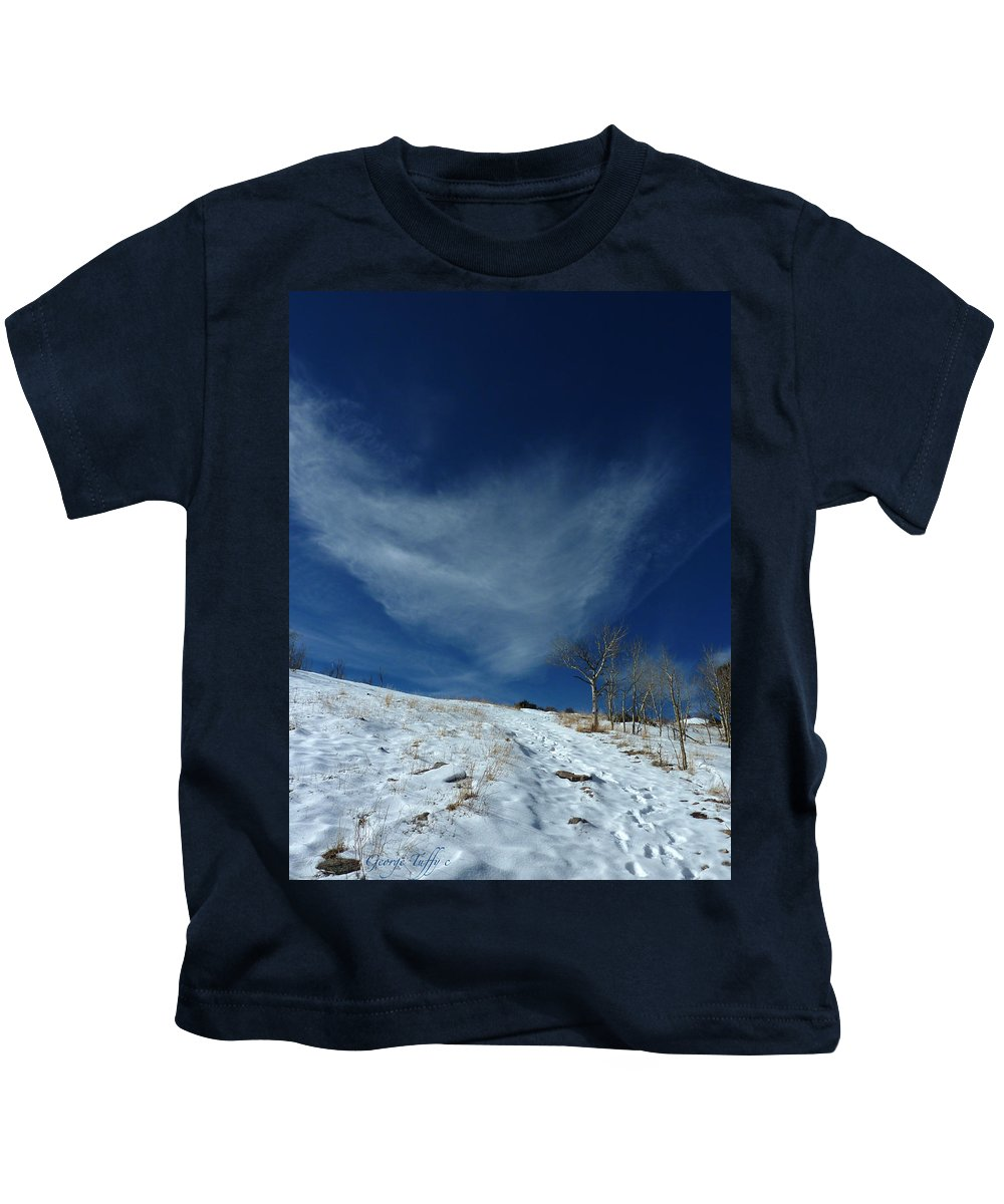 Winter Colorado Hike Simple Zen Cloud Sky Rocky Mountain Kids T-Shirt featuring the photograph Winter Walk by George Tuffy