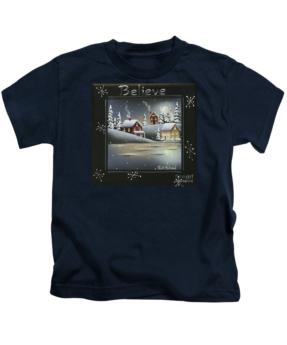 Art Kids T-Shirt featuring the painting Winter Wonderland - Believe by Catherine Holman