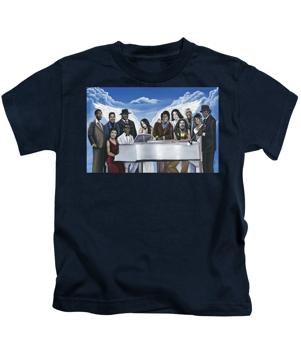 Marvin Gaye Kids T-Shirt featuring the painting Wish You Were Here by Stacy V McClain