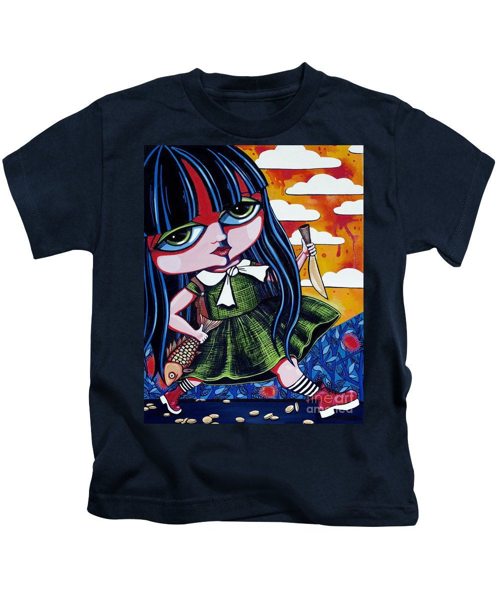 Girl Paintings Kids T-Shirt featuring the painting With Fish And Gold Coin by Leanne Wilkes
