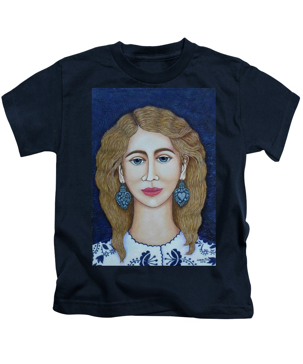 Woman Kids T-Shirt featuring the painting Woman With Silver Earrings by Madalena Lobao-Tello