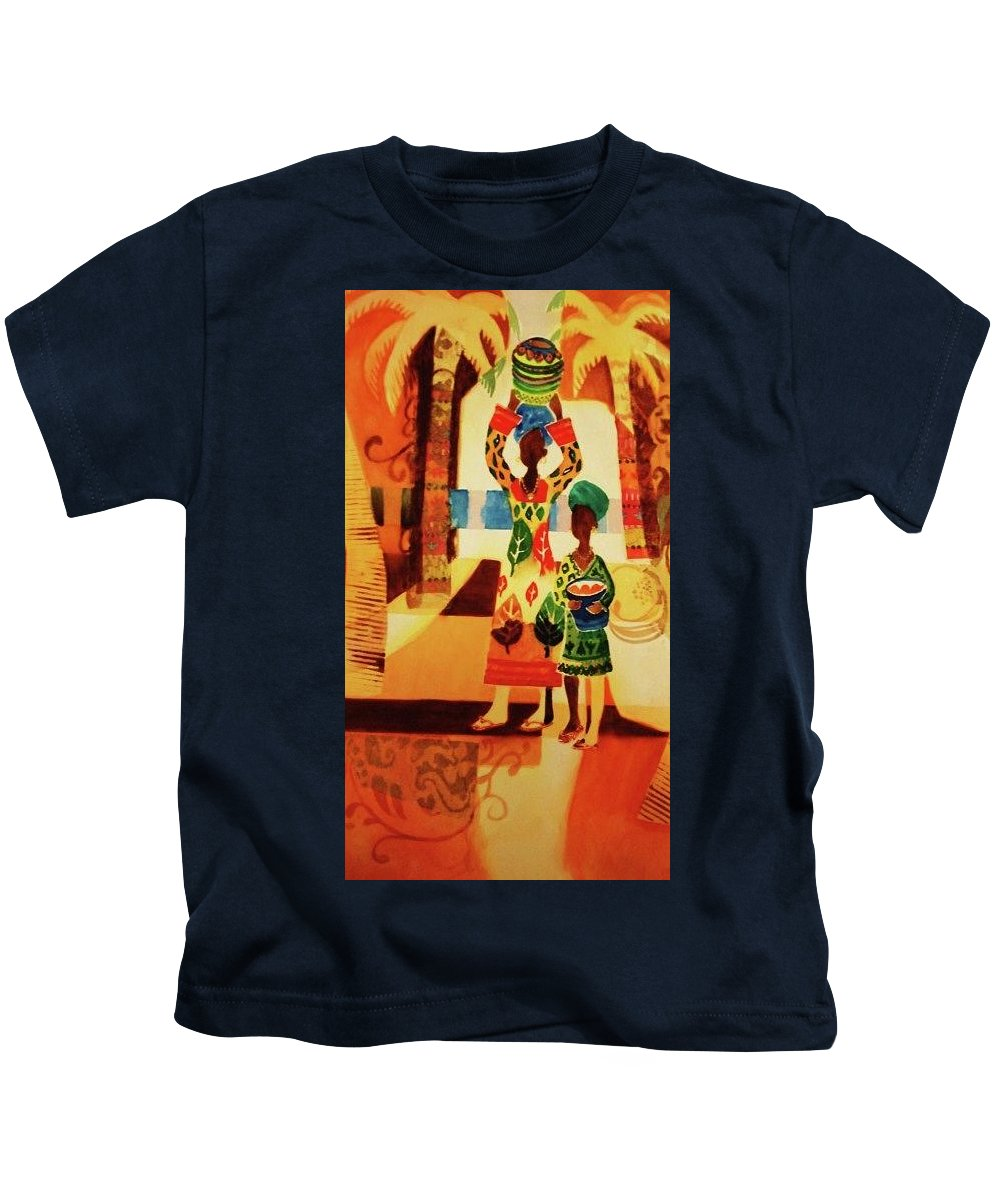 Women Kids T-Shirt featuring the painting Women With Baskets by Marilyn Jacobson