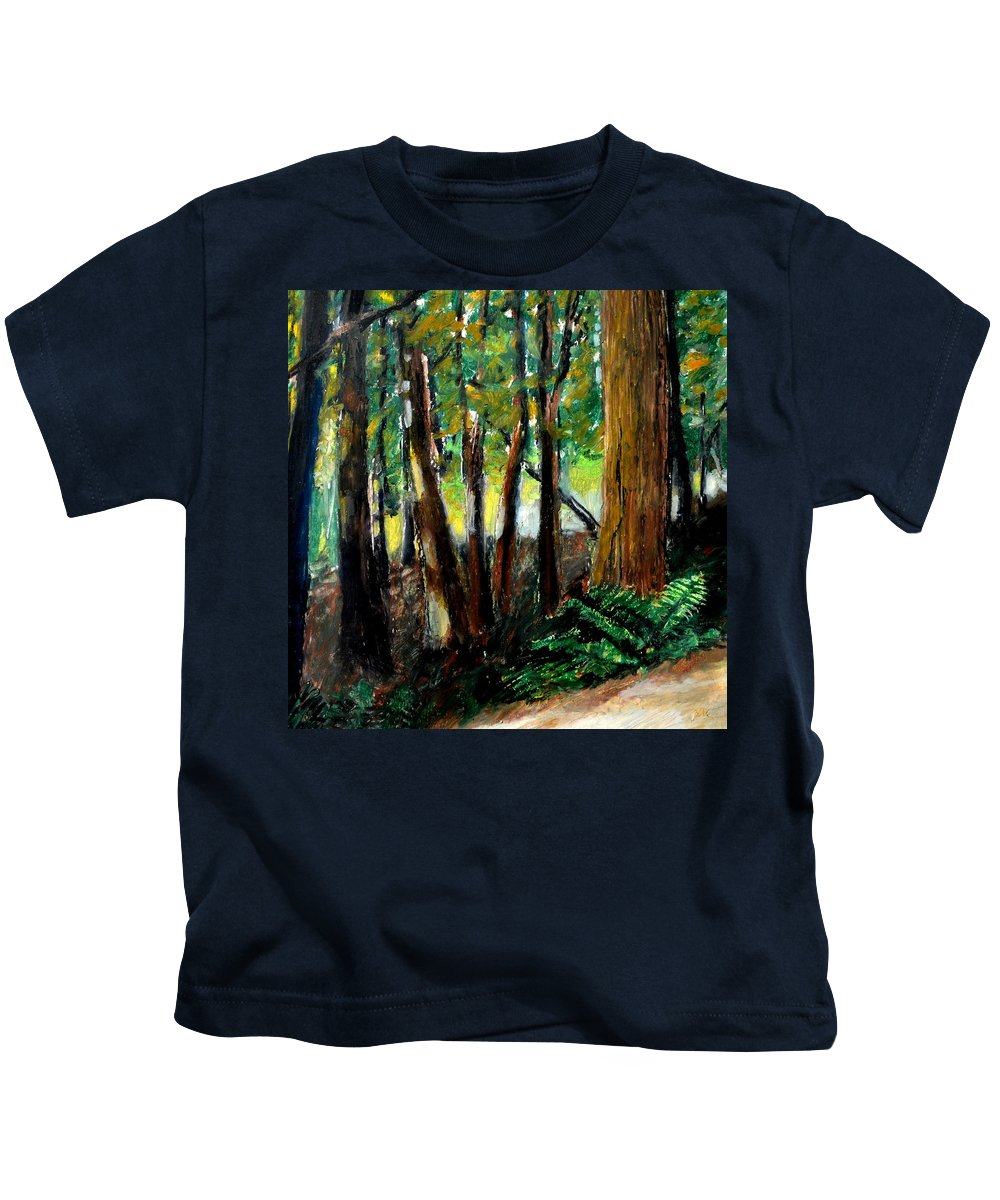 Livingston Trail Kids T-Shirt featuring the drawing Woodland Trail by Michelle Calkins