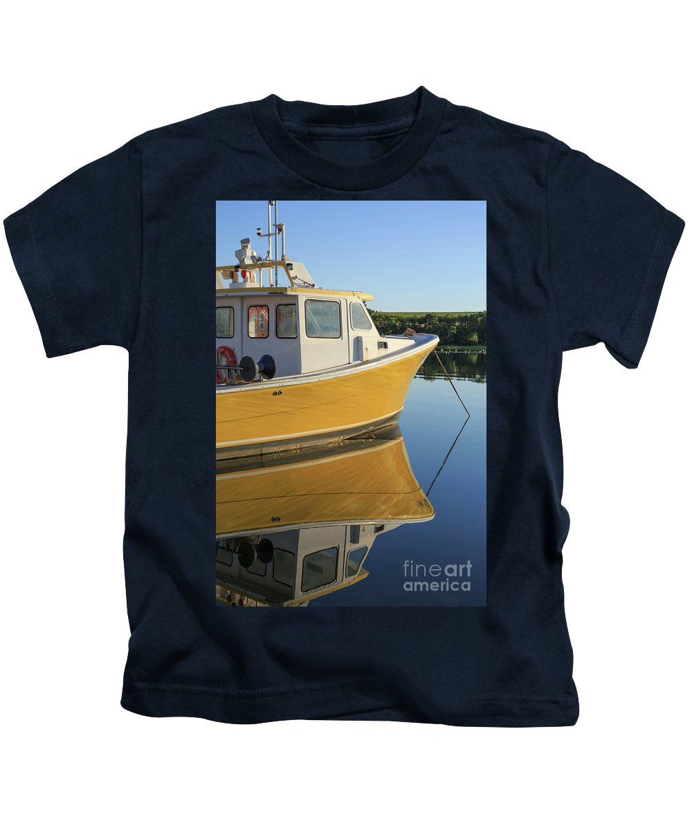 Marina Kids T-Shirt featuring the photograph Yellow Fishing Boat Early Morning by Edward Fielding