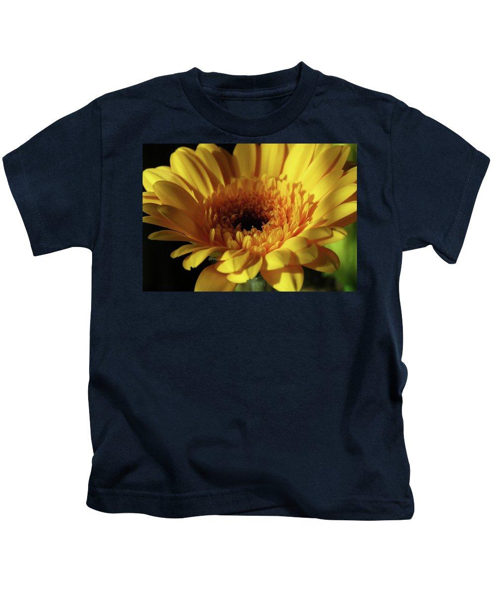 Gerbera Kids T-Shirt featuring the photograph Yellow Gerbera Macro by Johanna Hurmerinta