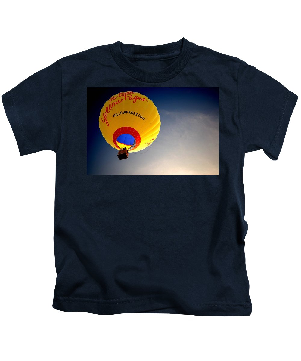 Hot Air Kids T-Shirt featuring the painting Yellow Pages Balloon by Michael Thomas