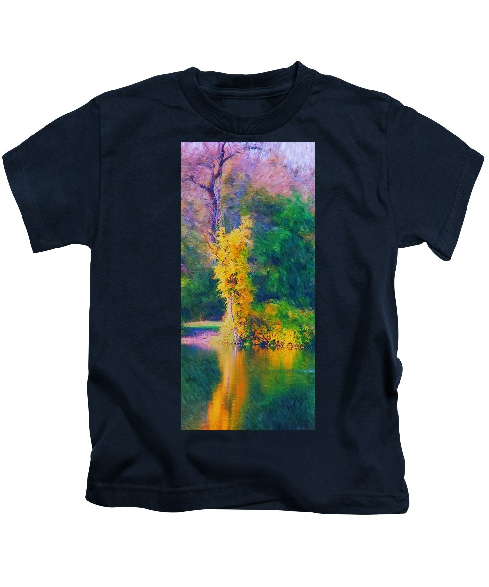 Digital Landscape Kids T-Shirt featuring the digital art Yellow Reflections by David Lane
