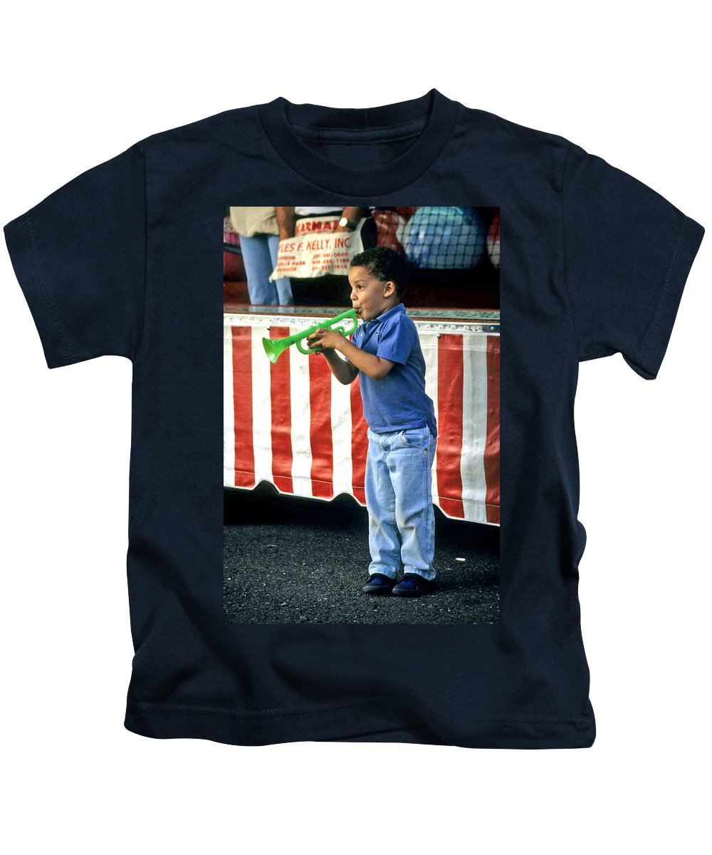 Young Musician Kids T-Shirt featuring the photograph Young Musician by Laurie Paci