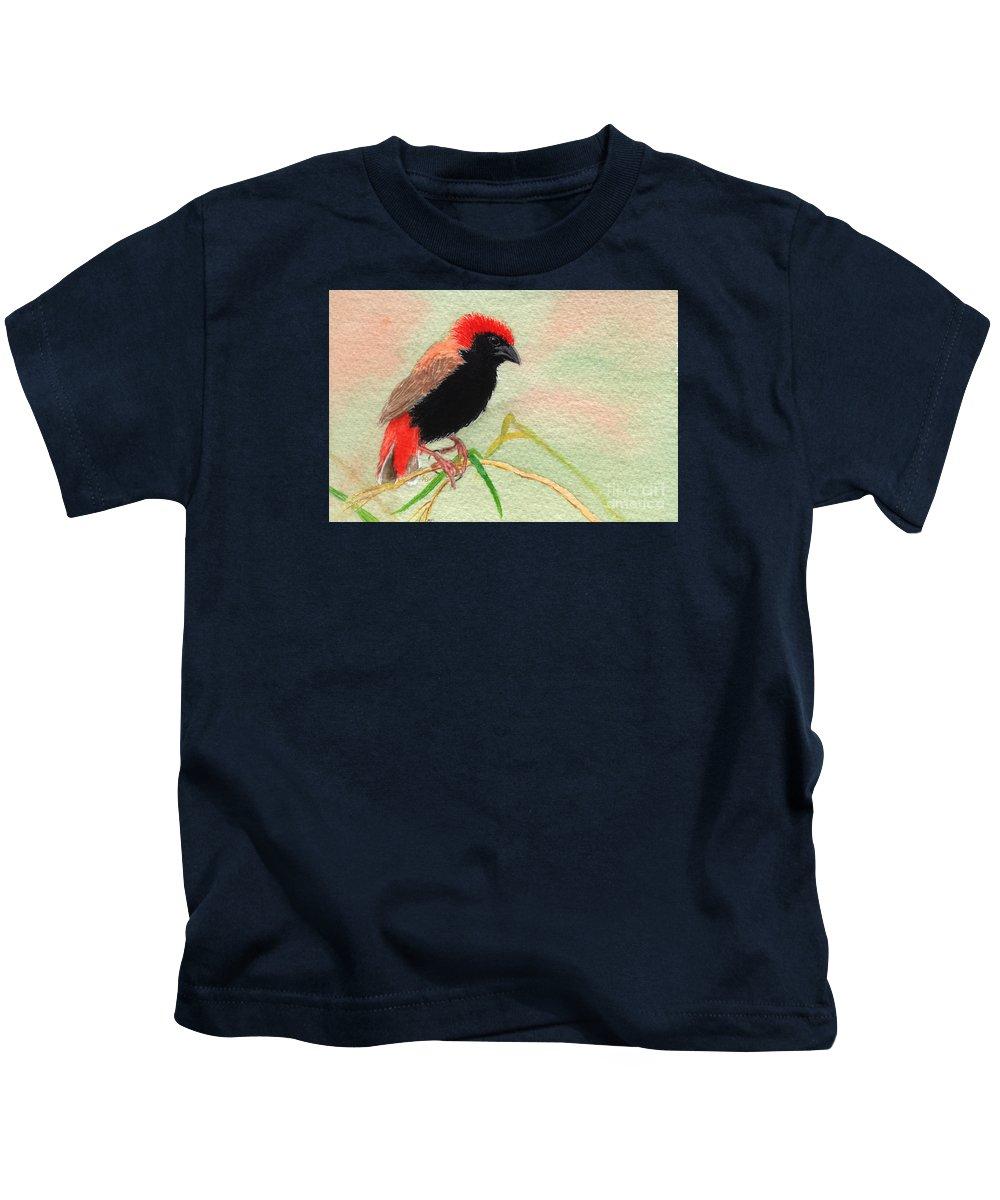 Bird Kids T-Shirt featuring the painting Zanzibar Red Bishop by Lynn Quinn