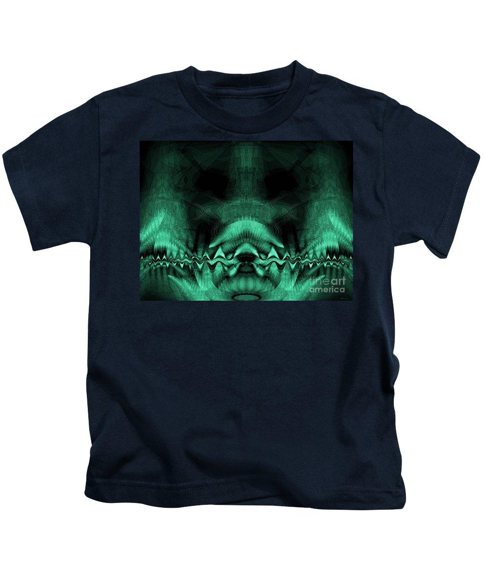 Zen Chaos / Teal Kids T-Shirt featuring the digital art Zen Chaos / Teal by Elizabeth McTaggart