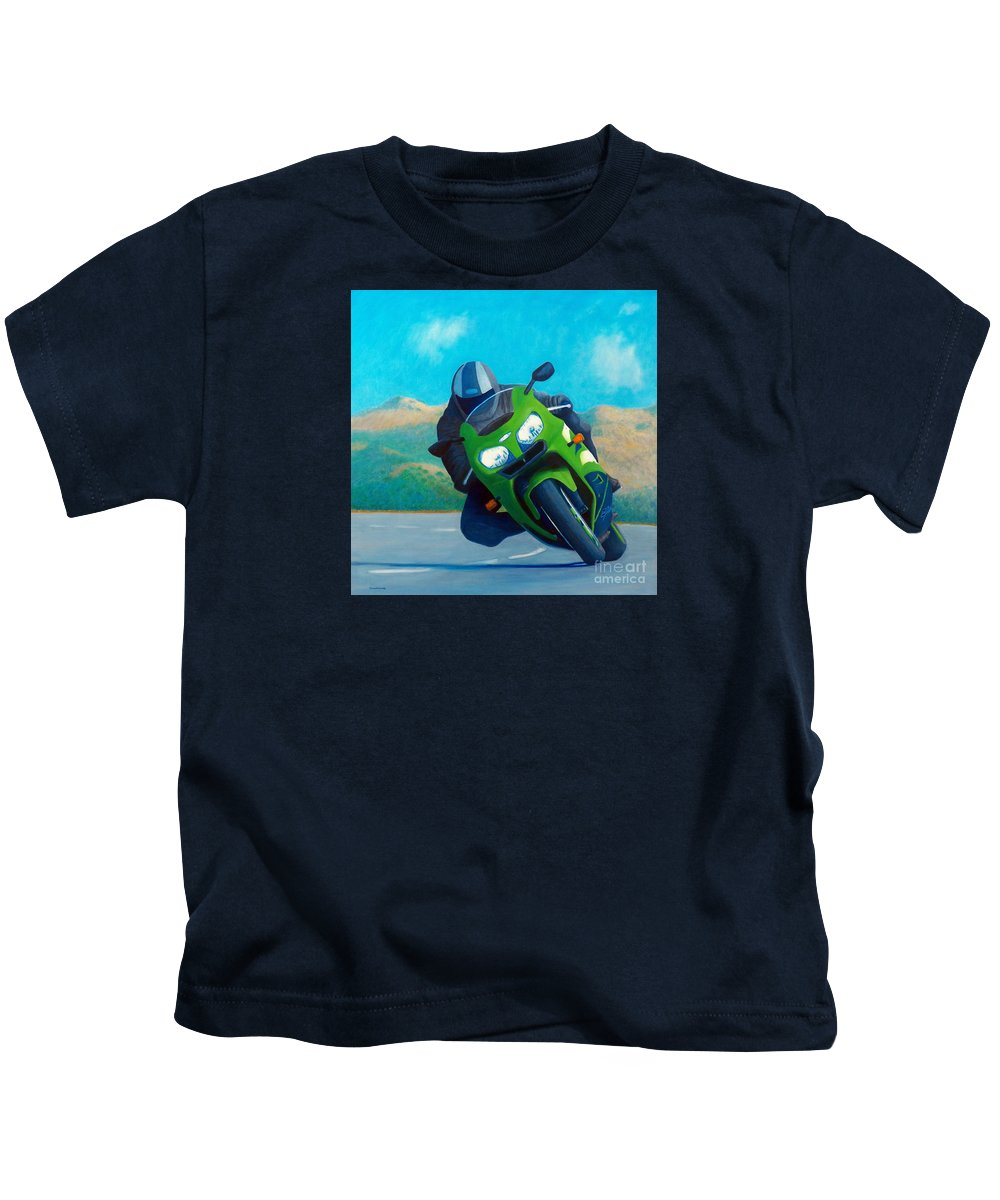 Motorcycle Kids T-Shirt featuring the painting Zx9 - California Dreaming by Brian Commerford