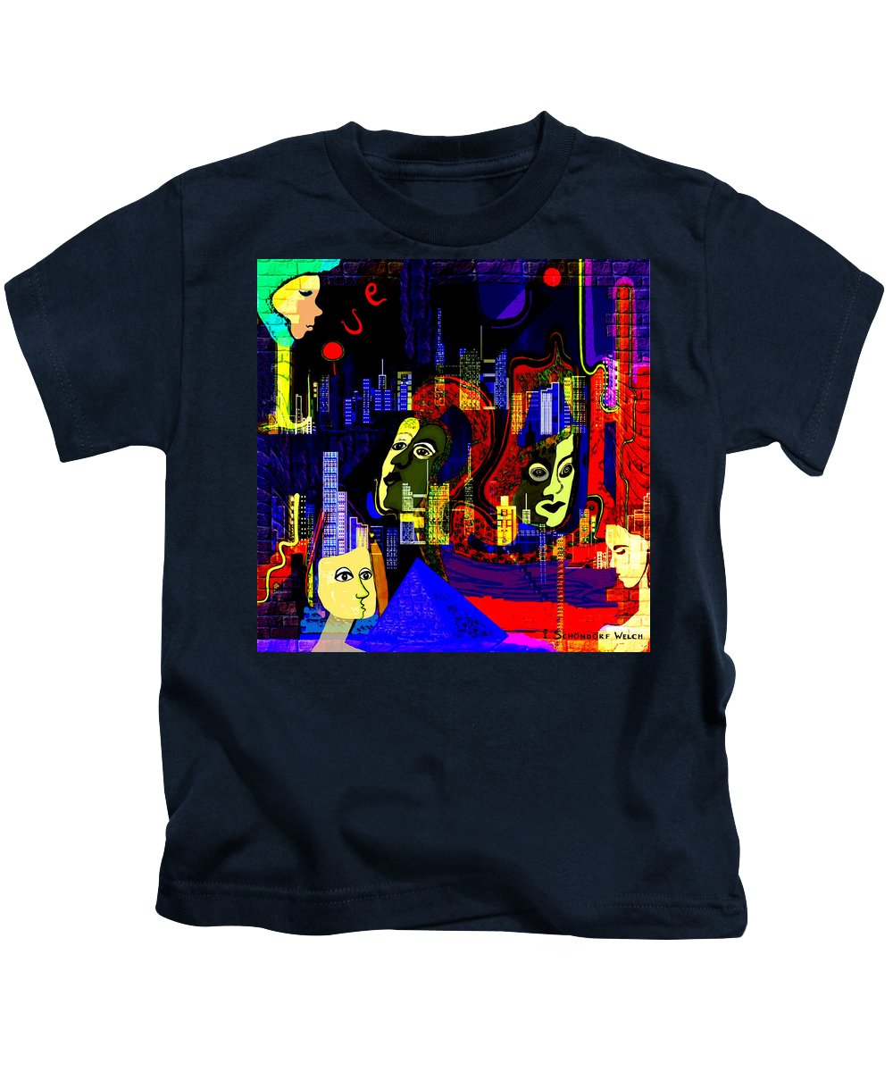 103 A Psychedelic City Night V Kids T-Shirt featuring the painting 103 A Psychedelic City Night V .. by Irmgard Schoendorf Welch