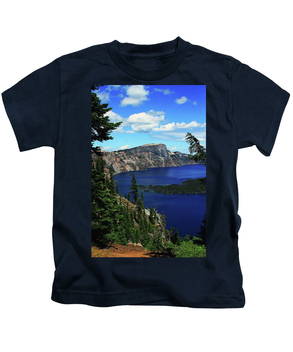 Crater Lake Oregon Kids T-Shirt featuring the digital art Crater Lake Oregon by Tom Janca