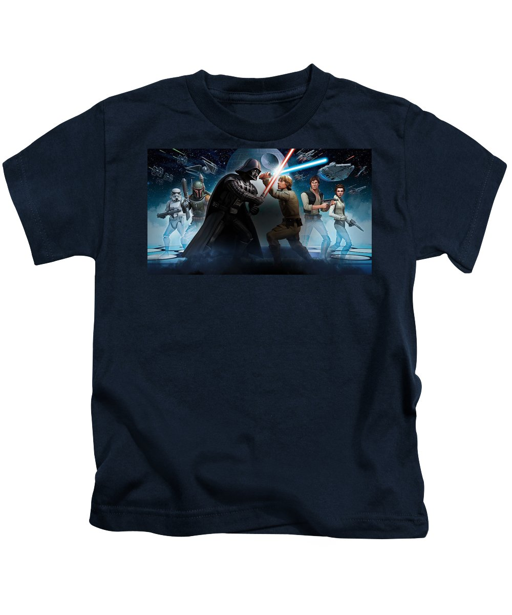 Darth Vader Kids T-Shirt featuring the digital art Darth Vader 4 by Samuel Beach