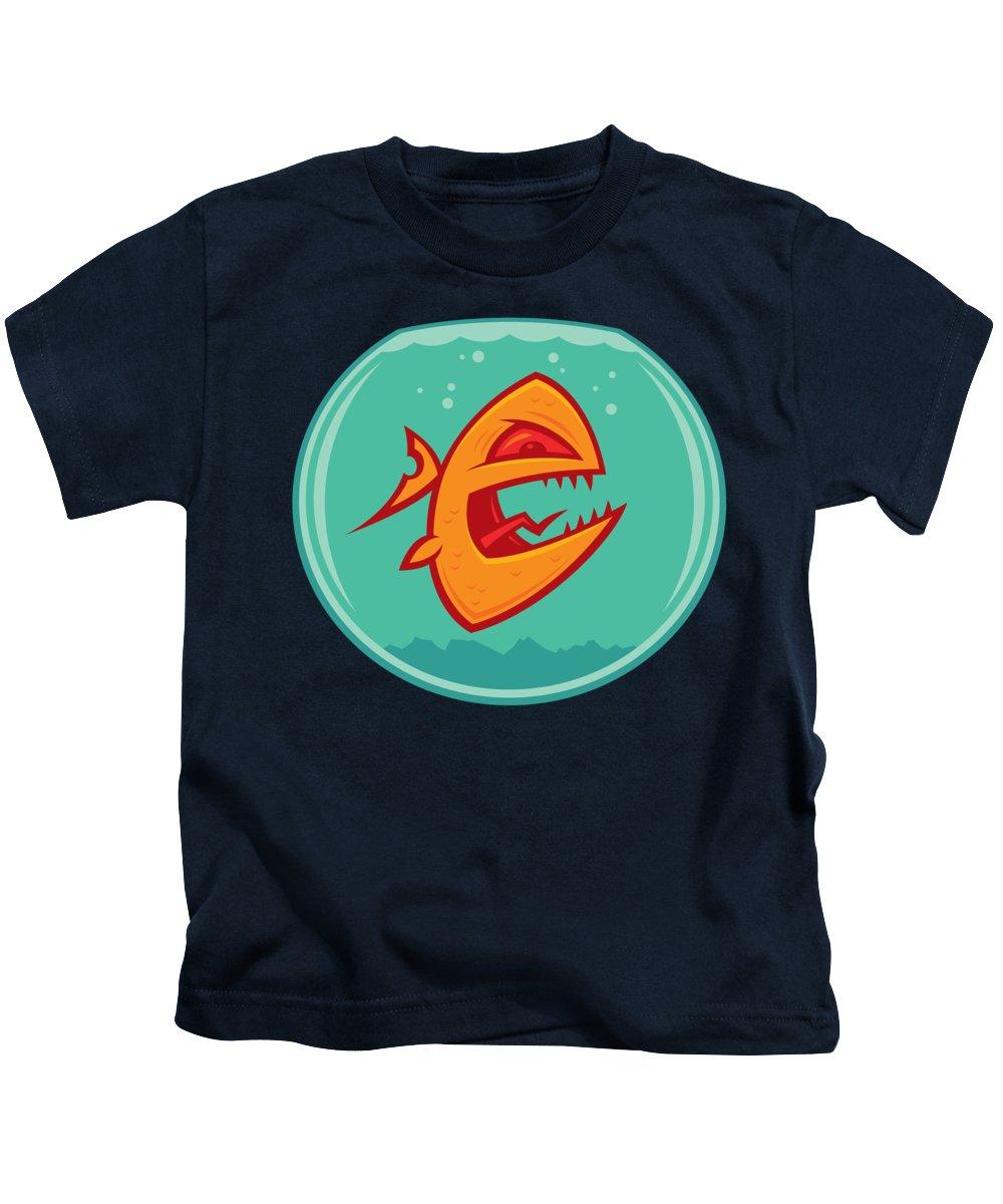 Anger Kids T-Shirt featuring the digital art Angry Goldfish by John Schwegel