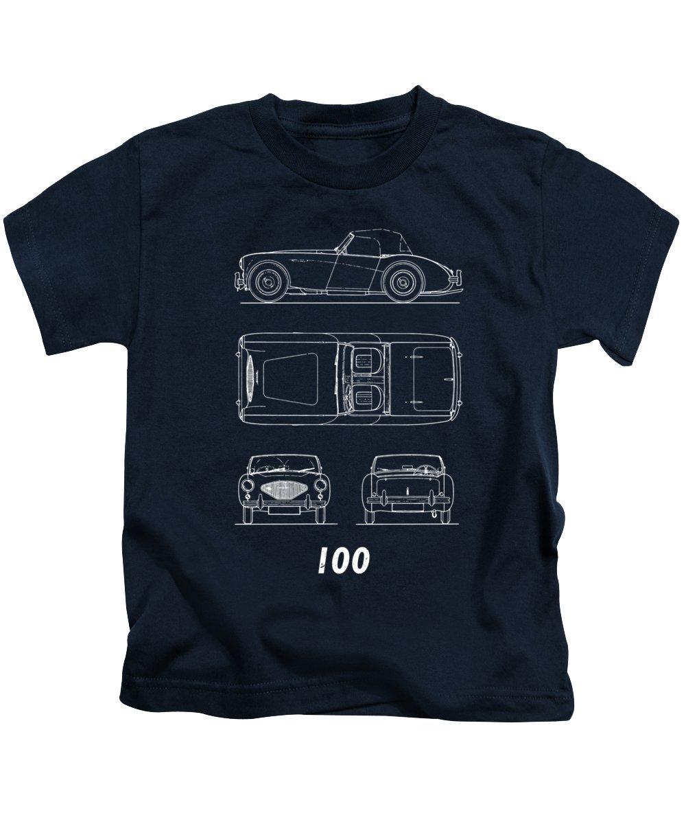 Car Kids T-Shirt featuring the photograph The Austin-healey 100 by Mark Rogan