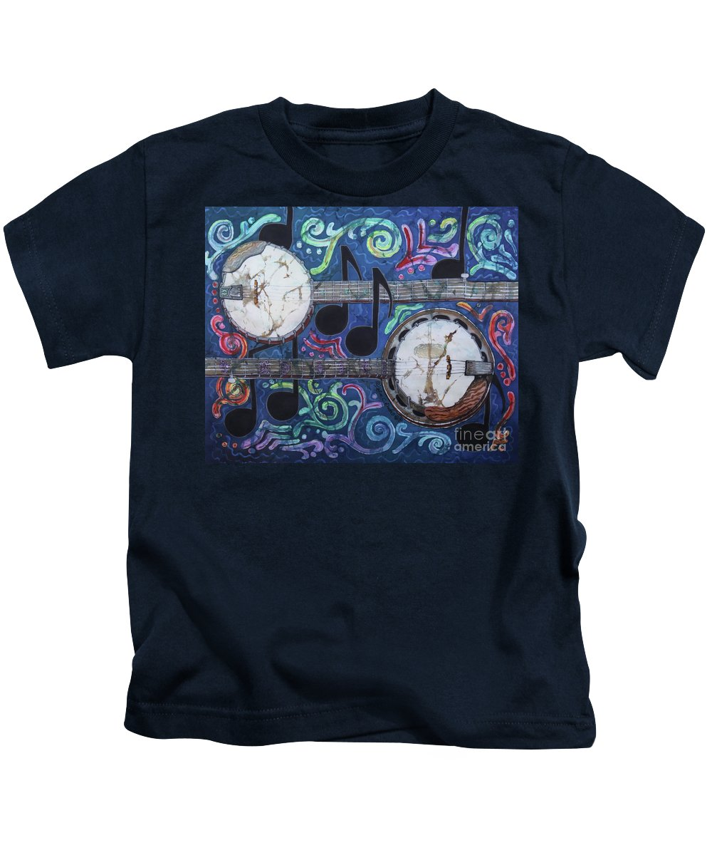 Banjos Kids T-Shirt featuring the painting Banjos by Sue Duda