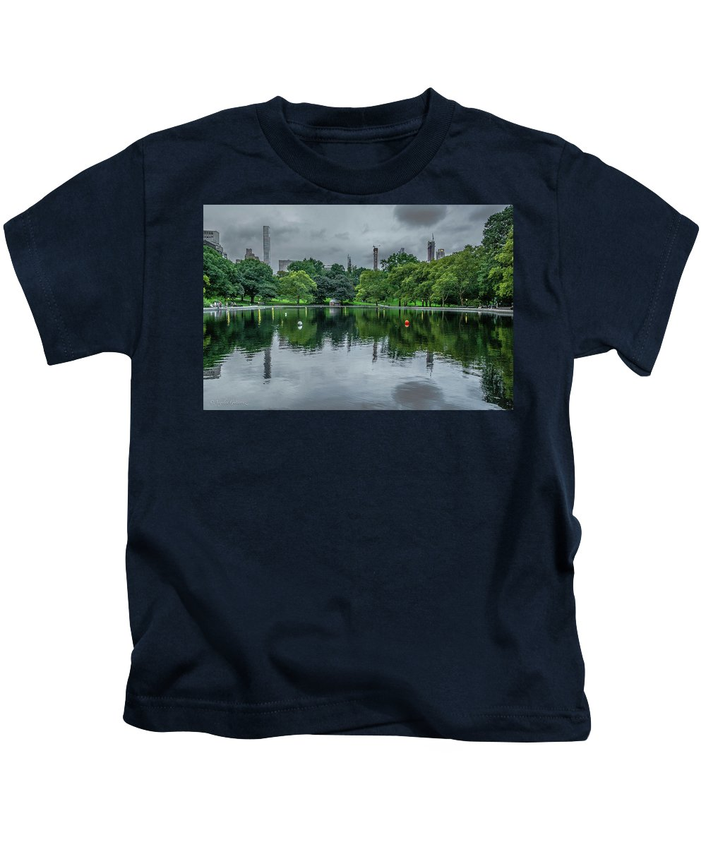 Wall Art Kids T-Shirt featuring the photograph Central Park Reflections by Angeles Gutierrez