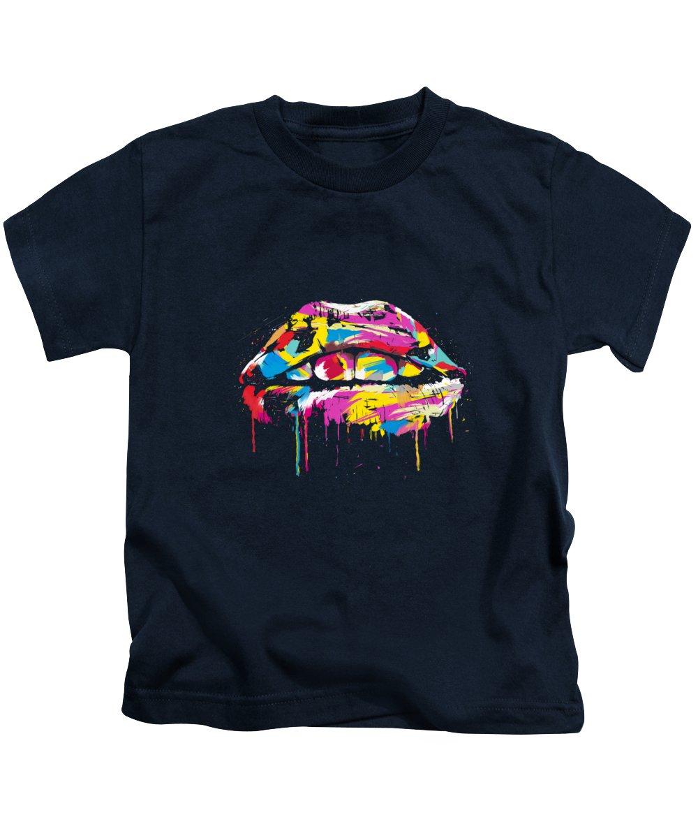 Lips Kids T-Shirt featuring the photograph Colorful lips by Balazs Solti